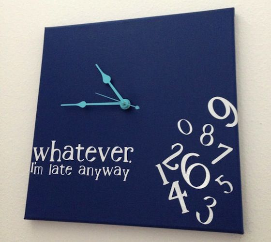 Handmade clock, so no two are the same! This is a 12×12 canvas, painted navy with white vinyl lettering and turquoise hands.