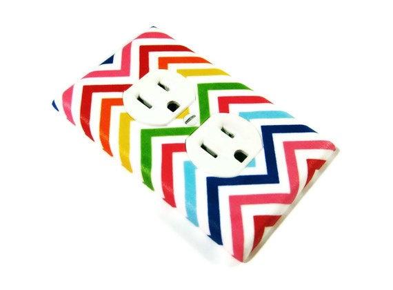 Chevron Stripes Rainbow Bright  Zig Zag Home Decor by ModernSwitch, $7.00