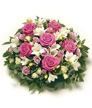 Posy Pink & White - A foliage edged posy arrangement in Pink & White.
