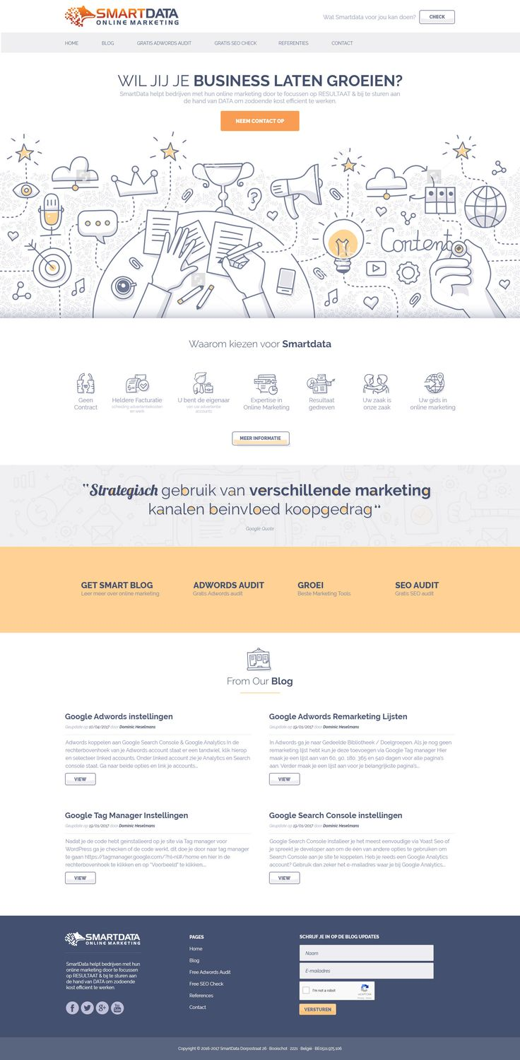 Minimalist, modern and clean design by Googa for an online digital marketing agency. Simple line art illustrations form the icons across the web page. #website #design #branding