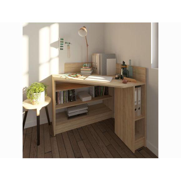 Bureau D Angle Avec étagères Et Intercalaires Blanc Chêne