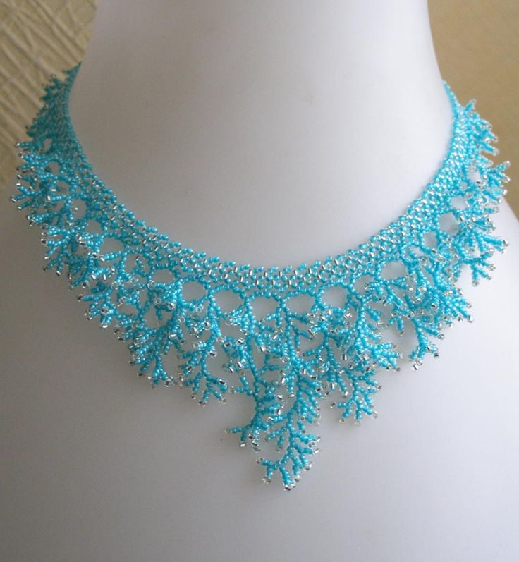 Coraling Technique - crochet inspiration, build the main necklace with crochet and run the beads for coral length in a traditional manner.
