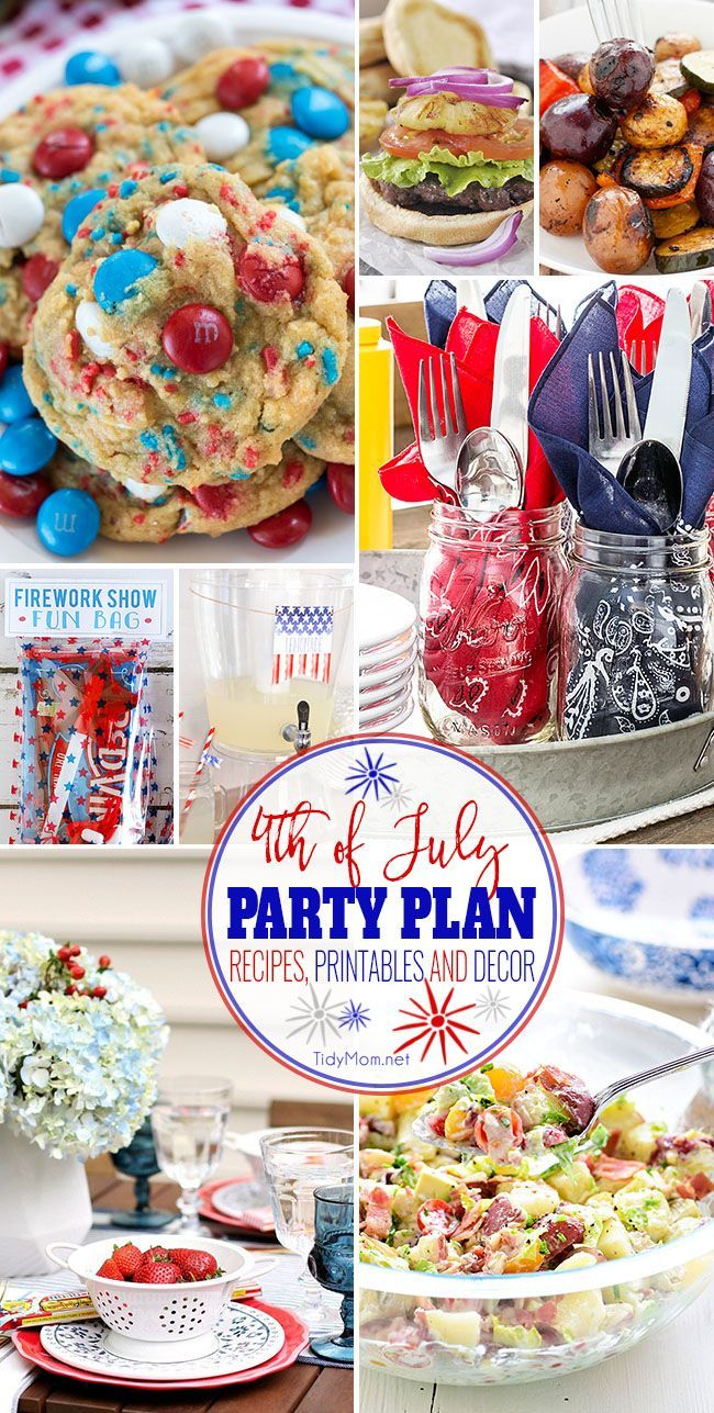 Red White and FUN! 4th of July Party Plan! Gather your family and friends and use these patriotic printables, decor ideas and recipes— you will find everything you need to ring in America's birthday this summer! All the details at TidyMom.net