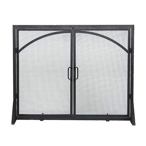 Minuteman International Black Arch Top Classic Flat Fireplace Screen with Doors - Fireplace Screens at Hayneedle
