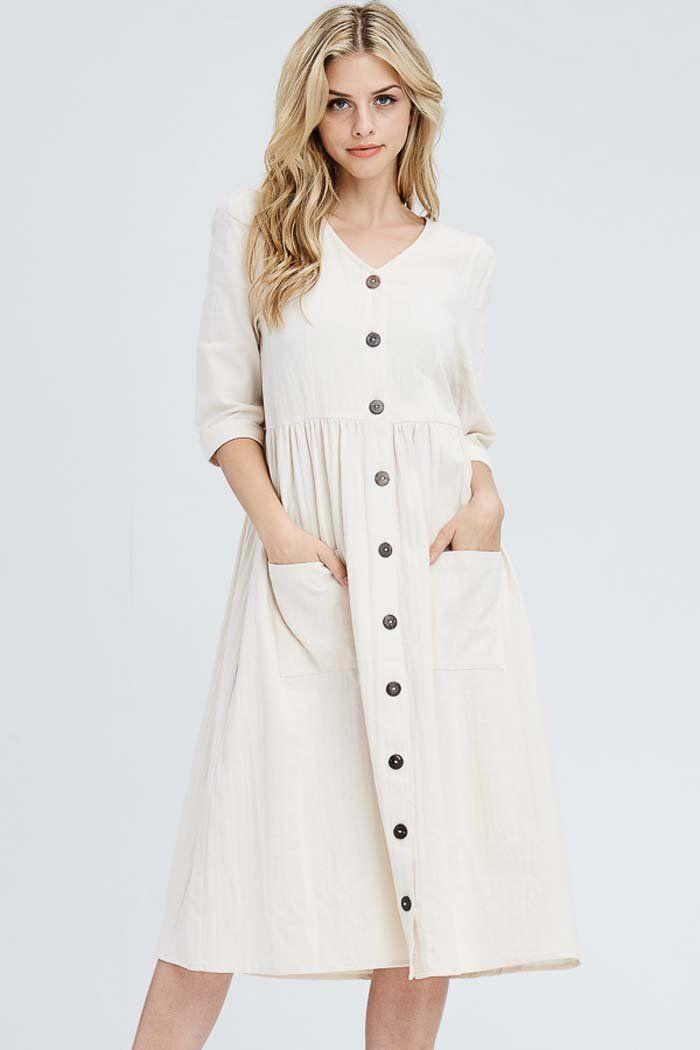5c9e293339c45 Chloe Button Down Solid Dress : Oatmeal – GOZON Boutique ...