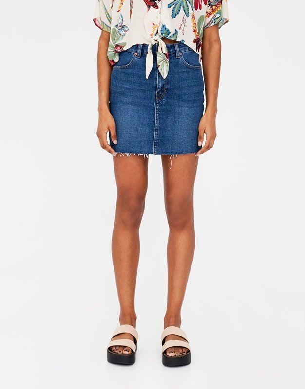 Stretch denim skirt - Skirts - Clothing - Woman - PULL&BEAR United Kingdom
