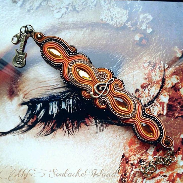 Copper, brown, old gold soutache bracelet