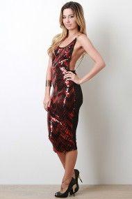Open Back Sequin Midi Dress