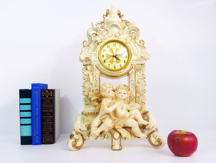 Vintage Mantle Clock Angels Cherubs Hollywood Regency - Baroque Ivory Tall Clock - Kitsch Ivory Gold Trim Faux Chalkware Home Decor by FourthEstateSale on Etsy https://www.etsy.com/listing/478009410/vintage-mantle-clock-angels-cherubs