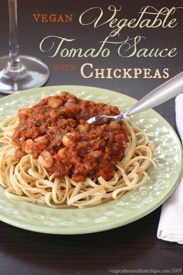 Vegan Vegetable Tomato Sauce with Chickpeas | cupcakesandkalechips.com | #glutenfree #vegetables #pasta #vegetarian