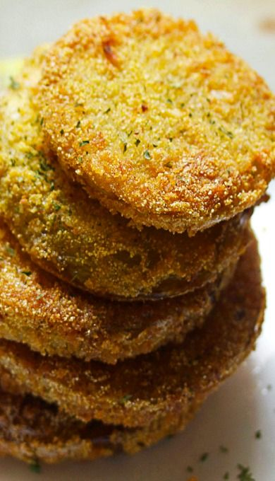 Fried Green Tomatoes: Southern American dish of fried sliced green tomatoes coated in cornmeal.