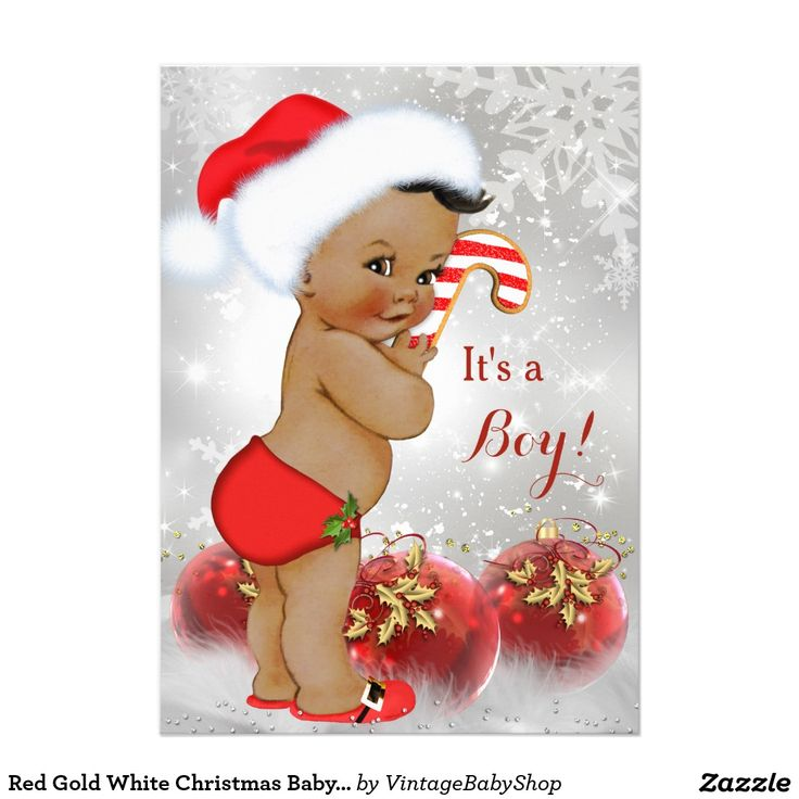 Red Gold White Christmas Baby Shower Boy Ethnic 5x7 Paper Invitation Card