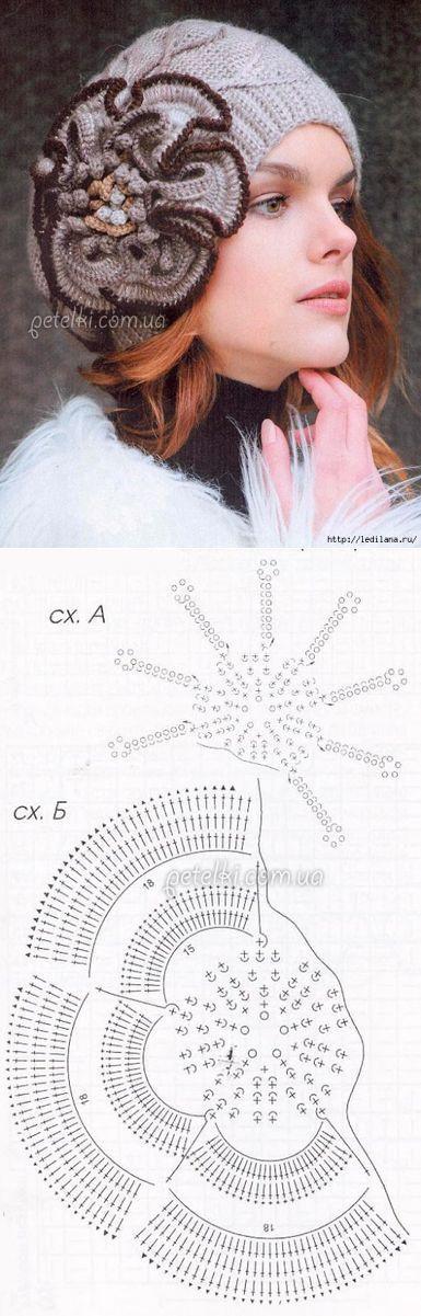 Шикарный берет крючком с цветком. Описание, схемы вязания - 13 Октября 2015 - Рукоделие своими руками - 'Магия Творчества'-информационный портал.