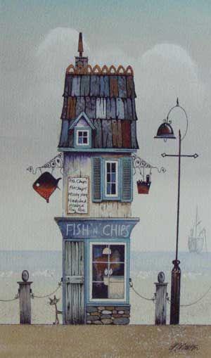 Gary Walton watercolour 'Fish N Chips'