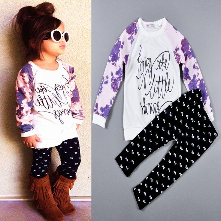 Girls' suits arrival Autumn girls Purple flowers Long sleeve T-shirt + Black white dots render pants 2pcs set children clothes
