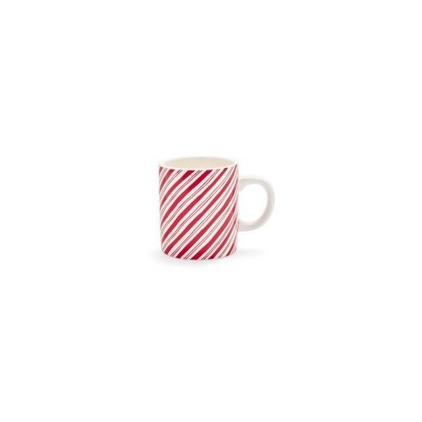 Peppermint Stripe Mug ($4.96) ❤ liked on Polyvore featuring home, kitchen & dining, drinkware, striped mugs, tea mug, cocoa mugs, sur la table and outdoor drinkware