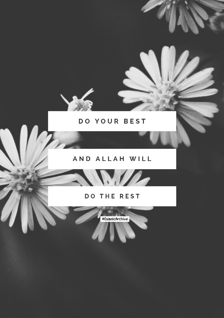 """Do your best and Allah will do the rest."""