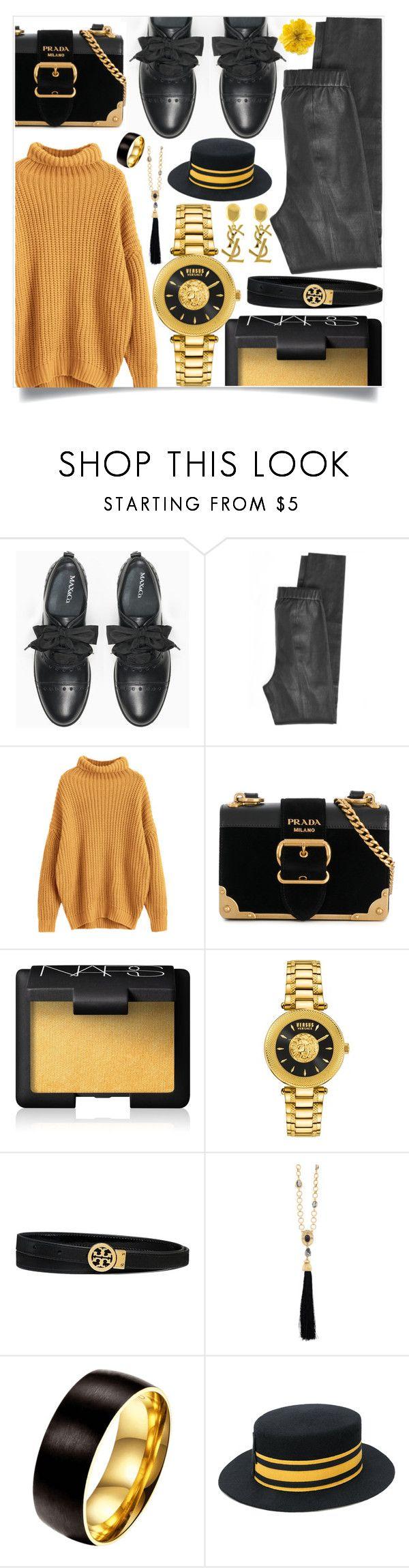 """yellow & black."" by ezgi-g ❤ liked on Polyvore featuring Max&Co., Calypso St. Barth, Prada, NARS Cosmetics, Versus, Tory Burch, Yves Saint Laurent, Oscar de la Renta, Le Chapeau by Alakazia and Gucci"