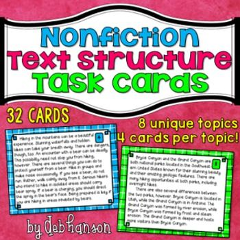 This set of 32 task cards will give your upper elementary and middle school students an opportunity to practice reading nonfiction passages and identifying the five types of text structures. These are the text structures addressed in Common Core Reading standards.