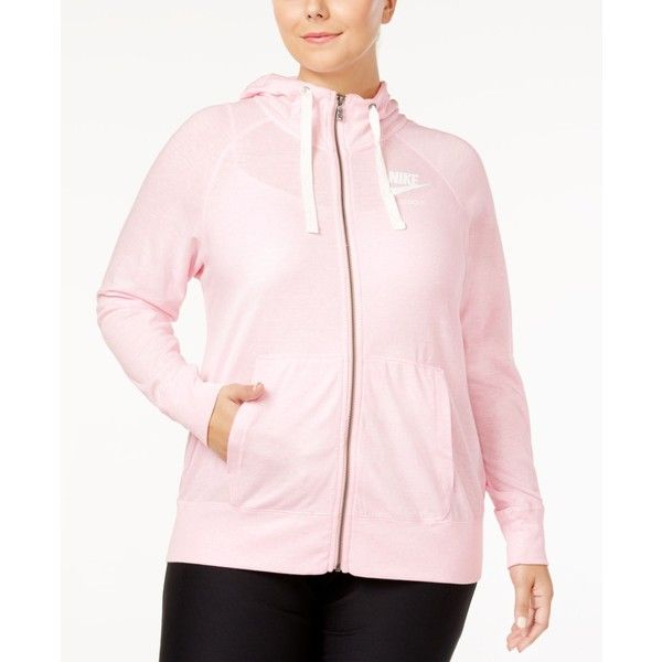 Nike Plus Size Sportswear Gym Vintage Hoodie ($45) ❤ liked on Polyvore featuring plus size women's fashion, plus size clothing, plus size tops, plus size hoodies, zipper hoodies, nike hoodie, hooded pullover, plus size hoodie and nike hoodies