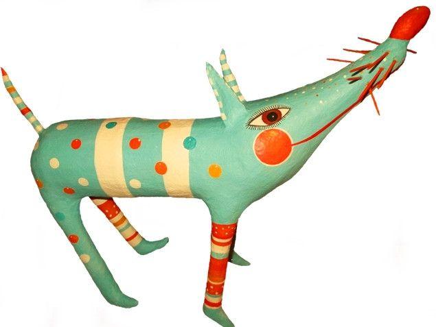 Deko-Objekte - Hund, h 36cm, Pappmache - ein Designerstück von villaazula bei DaWanda