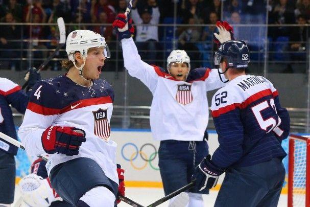 John Carlson USA goal, Olympics 2014 | Photo: Martin Rose
