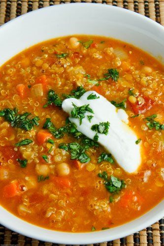 Curried Red Lentil Soup with Chickpeas and Quinoa. My family loved this. Great vegetarian option