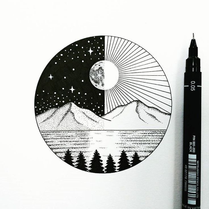 Artistic design Circle Pencil – #Bildish # pencil #design #mountains #circle