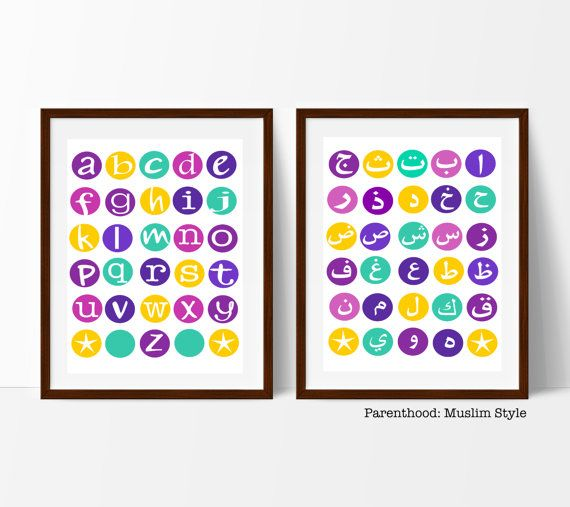 Arabic and English Alphabet posters available via Etsy