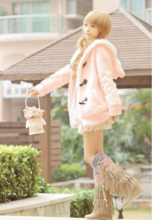 非主流苛苛女装可爱春秋90后学生棉糕兔兔耳朵毛茸茸外套连帽开衫-淘宝网全球站