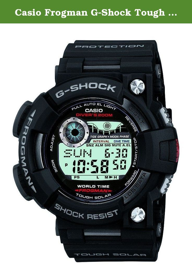 Casio Frogman G-Shock Tough Solar GF-1000-1DR GF-1000-1 GF1000-1 Men's Watch. Case / bezel material: Stainless steel / Resin Resin Band ISO 200 meters Water Resistance Mineral Glass Shock Resistant Screw Lock Back Electro-luminescent backlight Full auto EL light, selectable illumination duration, afterglow Solar powered World time 31 time zones (48 cities + coordinated universal time), city code display, daylight saving on/off Moon data (moon age of the specific date, moon phase graph)…