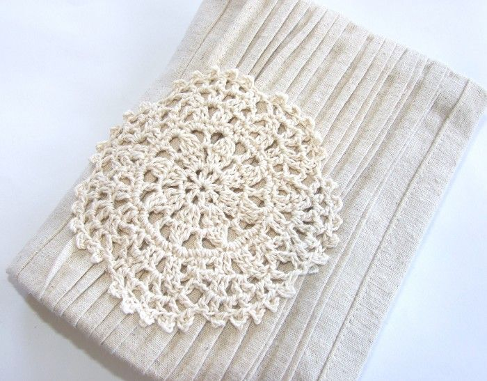 Hemp Pleated Reusable A6 Visual Journal Slip Cover with Pleated Front and Doily