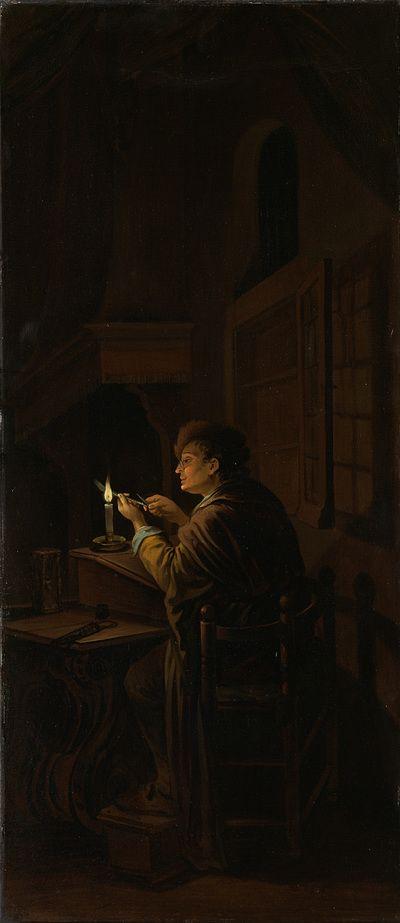 Willem Joseph Laquy: drieluik Allegorie op het kunstonderwijs: de pennensnijder. Binnenkant rechterpaneel. ca. 1753 - 1798. Rijksmuseum, Amsterdam. Op het rechter zijpaneel snijdt een geleerde in zijn werkkamer een pen bij het licht van de kaars. De pennensnijder symboliseert oefening.  Naar het drieluik van Gerard Dou dat in 1771 verloren is gegaan.