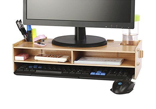 AZLife Desktop Monitor Stand, Wooden Monitor Riser and Desk Organizer, with Slots for Office Supplies and Storage Space for Keyboard and Mouse, Wide Screen Riser for Computer Monitor/Laptop/TV/Printer