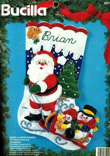 "Bucilla ""SANTA & SNOW BABIES"" Snowmen Christmas Stocking Felt Applique Kit *NEW*"