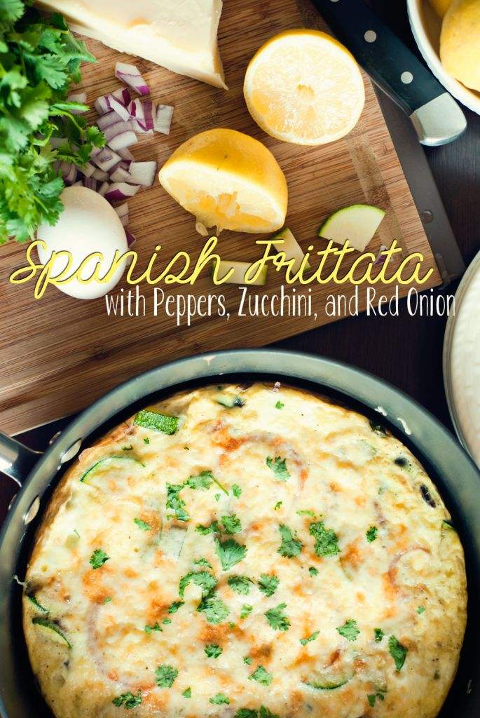Spanish Frittata with Peppers, Zucchini, and Red Onion by Three in Three #TabletheSalt #sp
