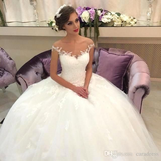 2015 Lace A Line Wedding Dresses Off Shouler Sheer Short Sleeves Tulle Lace Ball Gowns Applique Floor Length Bridal Gowns Cheap Online with $170.69/Piece on Caradress's Store | DHgate.com