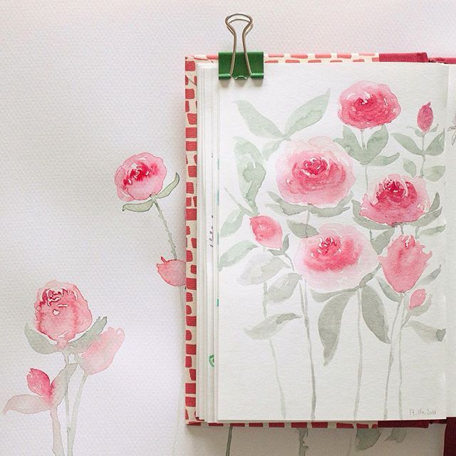 Rose. Esercizi su carte differenti - by Irene Zuccarello    #havingfun #practicing #nopencil #watercolor #sketch #roses #flowers #nature #drawing #sketchbook #acquerello #esercizi #pennello #disegno #rose #fiori #natura #italia