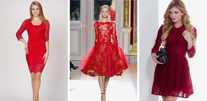 Короткие красные платья из гипюра