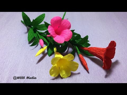 How to make easy beautiful cherry blossom paper flower/diy origami crepe paper flower/paper tutorial - YouTube