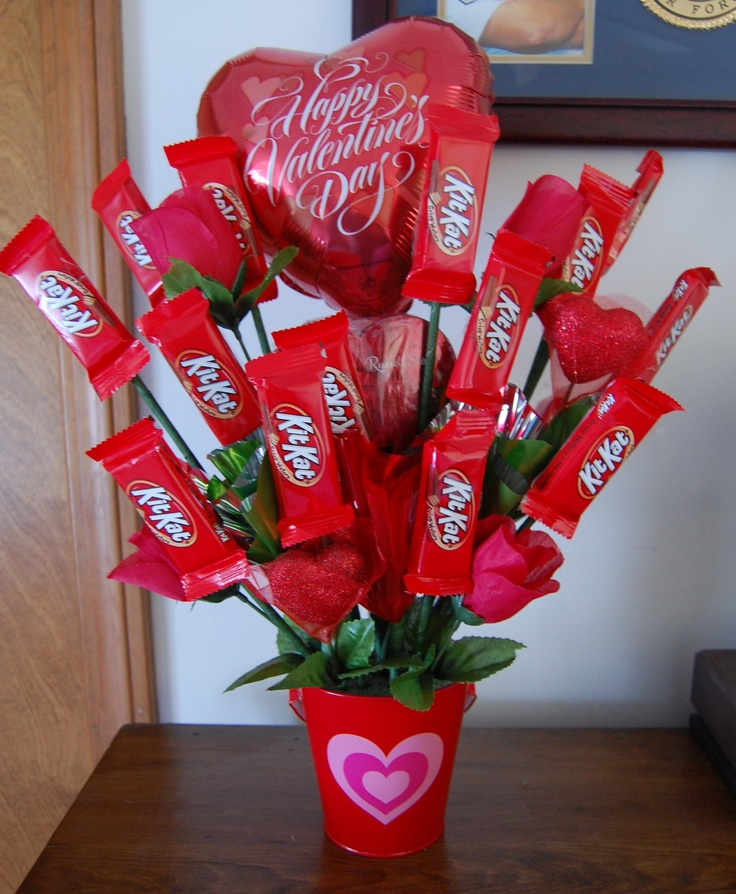 Homemade candy arrangement ready for Valentine's Day. Less than half the cost of ordering one!!!