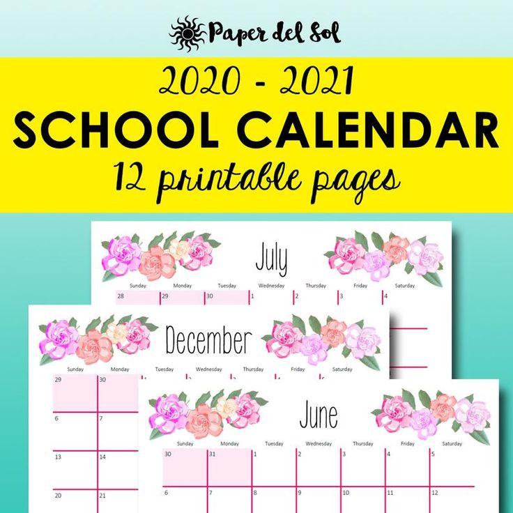 Printable Calendar 2020 2021 Academic Planner, Monthly
