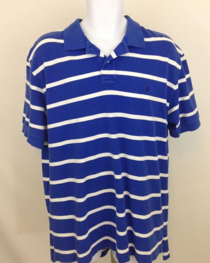 Polo Ralph Lauren Men's Short Sleeve  Polo Shirt Blue W White Stripes Size XL #PoloRalphLauren #PoloRugby