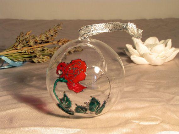 ROSA  Mini Terrario pallina in vetro porta tillandsia Bolla