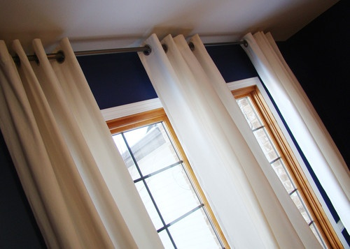 Dark Blue Walls Oak Trim Amp White Curtains For The Home