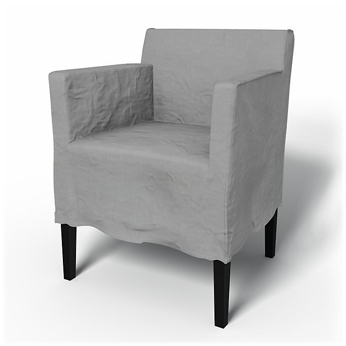 Nils, Chair Covers, Armchair, Loose Fit Urban medium skirt  using the fabric Rosendal Pure Washed Linen Silver Grey