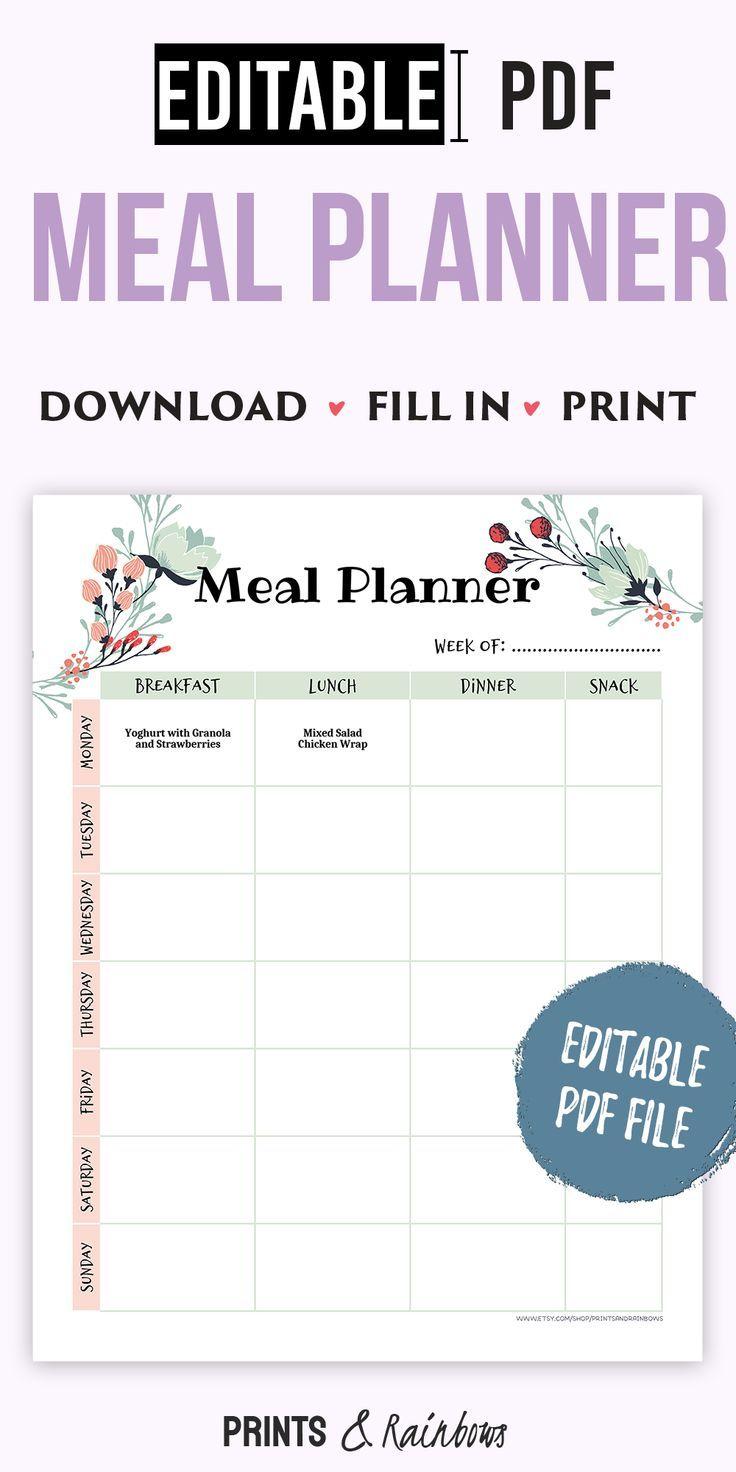 Meal Planner Printable Menu Planner Printable Weekly Meal Etsy Meal Planner Printable Menu Planner Printable Weekly Menu Planners Weekly meal planner template pdf