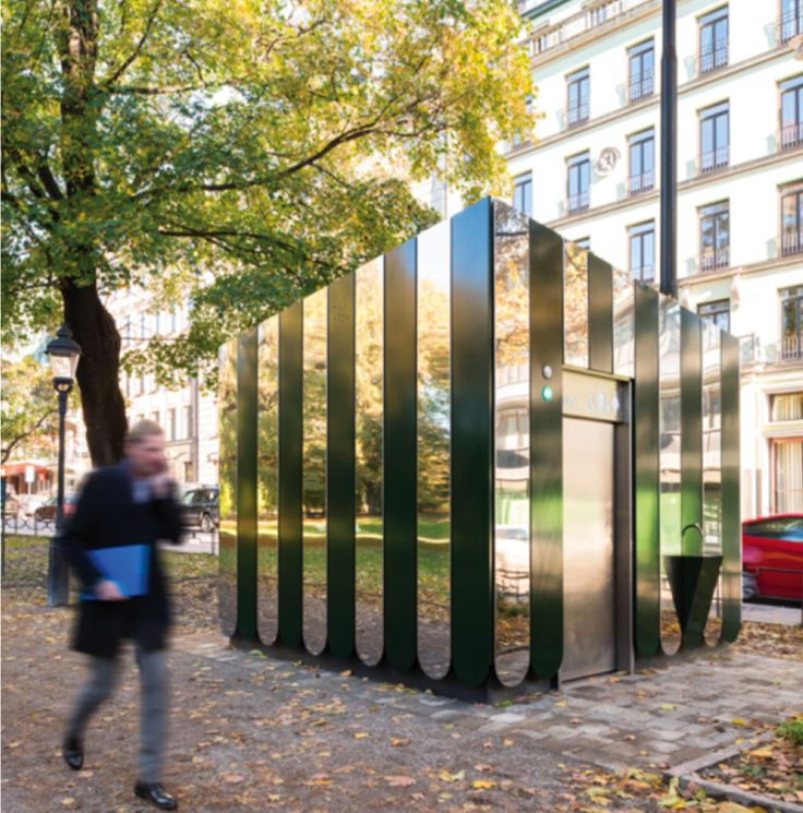 Lori: a public toilet designed by Dinell Johansson located in Humblegården, Stockholm.