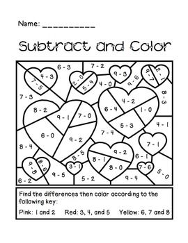 Subtract and Color Activity - great for any time of the year! Subtracting digits 0-9 with answers as large as 8.