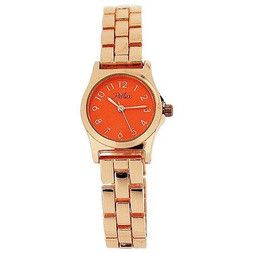 Reflex Ladies Analogue Orange Dial & Rose Tone Metal Bracelet Strap Watch LB115